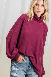 Cowl Neck Top in Magenta - in Medium