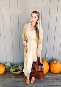Embroidered Empire Midi Dress in Fawn