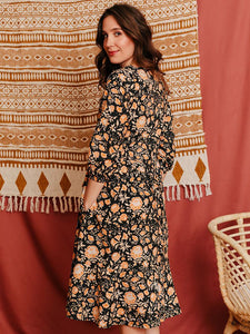 Napa Long Sleeve Dress in Amber - Fair Trade Embroidered Dress
