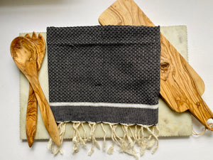 Natural Cotton Towel in Black