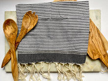 Natural Cotton Towel in Black and White Stripe