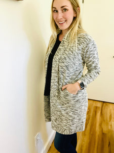 Heather Knit Open Cardi with Pockets