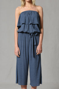 Soft Navy Off Shoulder & Strapless Jumpsuit -it's versatile!