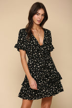 Black Daisy Front Tie Dress