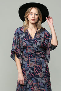 Boho Multi Wrap Top in Navy - in Large