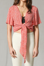 Red Flutter Tie Cropped Top