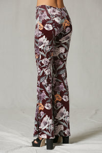 Stretchy Velvet Floral Bell Bottoms