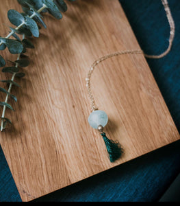 Recycled Glass and Tassel Long Necklace