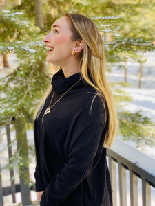 Ribbed Cowl Neck Sweater in Black