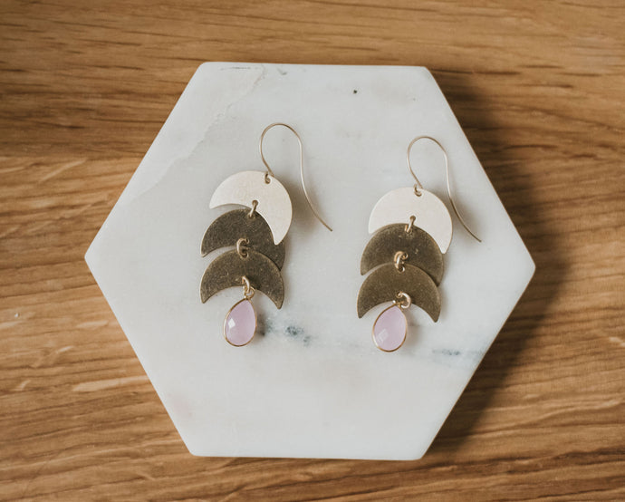 Rose Quartz Moon Earrings