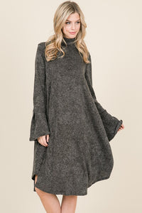 Soft Bell Sleeve Dress in Charcoal