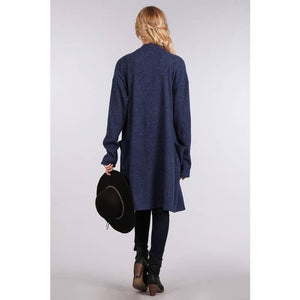 Soft Navy Blue Long Cardigan with Pockets