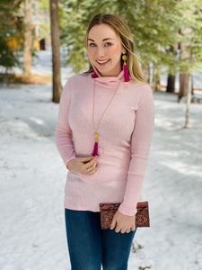 Soft Turtleneck Top In Pink