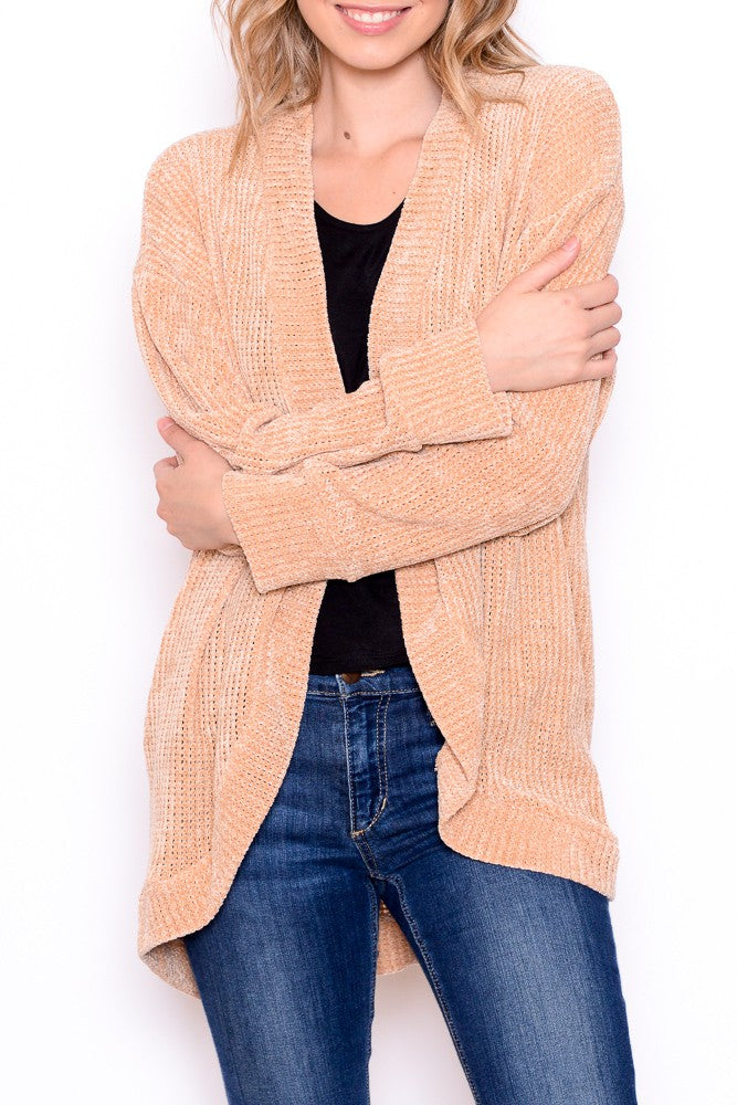 Soft & Cozy Chenille Open Cardigan in Fawn