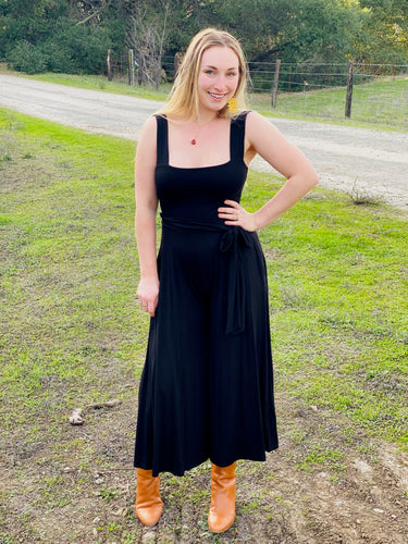 Stretchy Tank Jumpsuit With Tie in Black