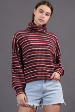 Striped Knit Turtleneck Pullover in Wine