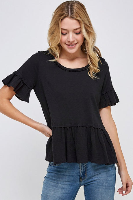 Sweet Ruffle Black Cotton Peplum Top in Black