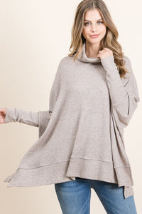 Knit Turtle Neck Tunic in Taupe