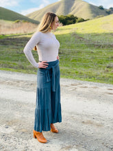 Teal Flowy Pants with Waist Tie