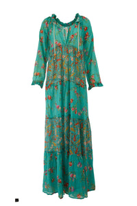 Turquoise Cotton Floral Frock Shift Dress