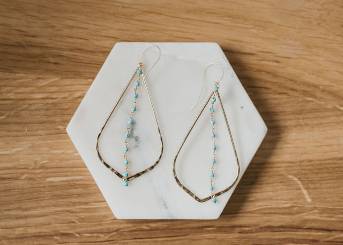 Turquoise Teardrop Hoop Earrings