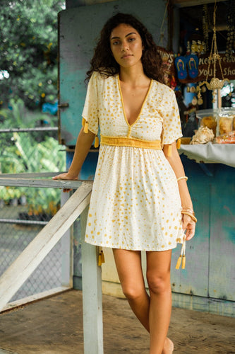 Boho Mini Summer Sundress With Tassels In Starfruit - in Medium