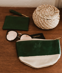 Agave Half Moon Clutch in Green and Gold