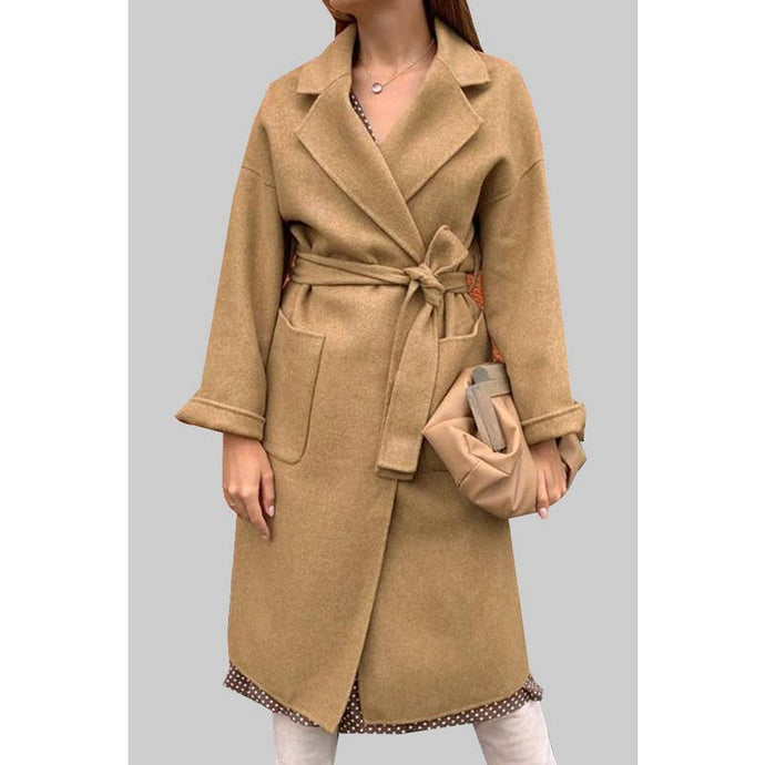 Long Beige Warm Coat with Pockets