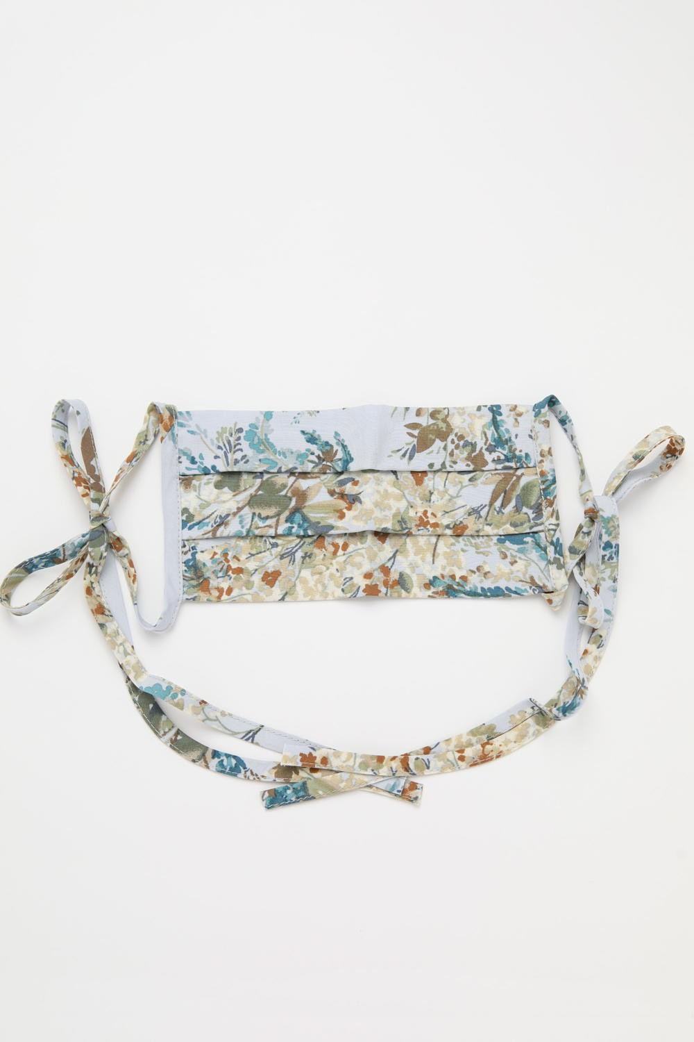 Blue Floral Face Mask with Self-Tie Closure