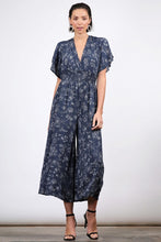Floral Navy Jumpsuit - in Small