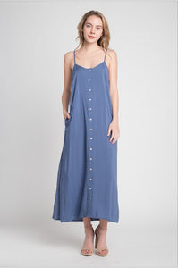 Denim Blue Woven Button Down Maxi Dress With Slits