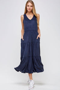 Faithful Tiered Midi Dress in Navy