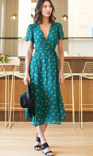 Ginkgo Leaf Midi Wrap Dress in Emerald & Gold
