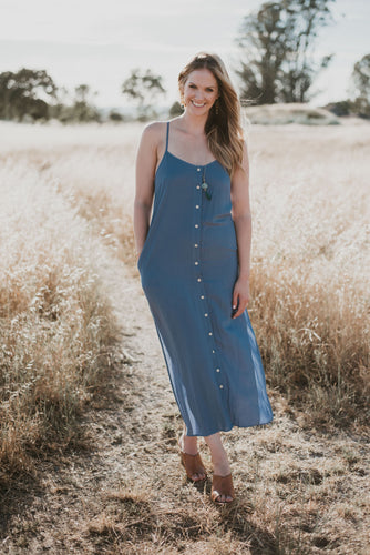 Denim Blue Woven Button Down Maxi Dress - in Small