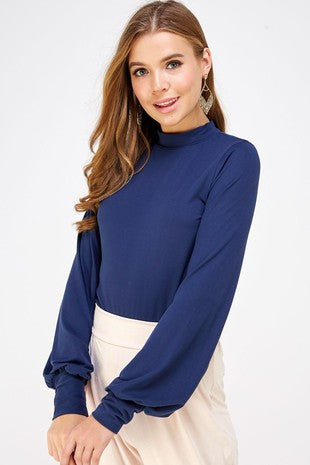 Navy Bell Sleeve Top