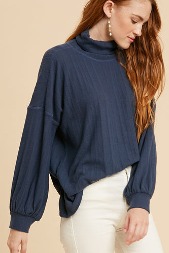 Knit Cowl Neck Tunic in Navy