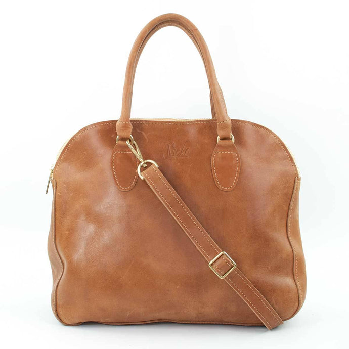 Sheba Leather Tote in Caramel
