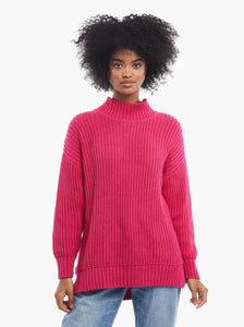 Rose Relaxed Sweater Tunic in Beet