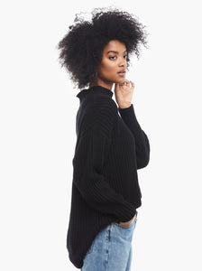 Rose Relaxed Sweater Tunic in Black
