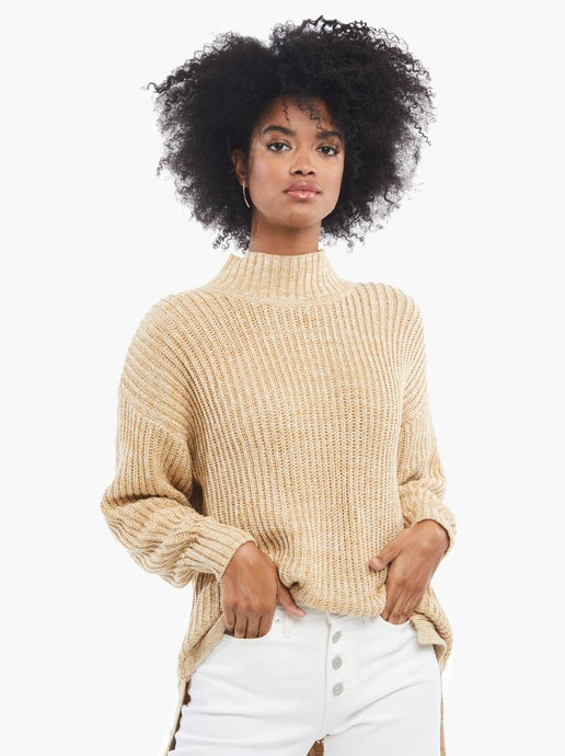 Rose Relaxed Sweater Tunic in Tan