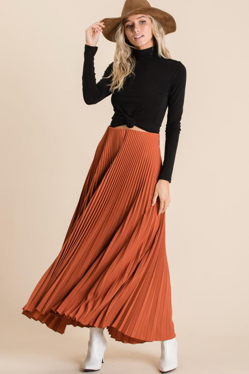Pleated Rust Skirt