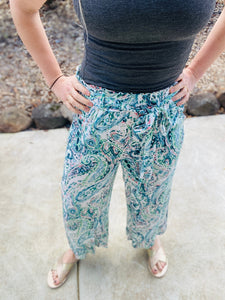 High Waisted Pant in Teal Paisley