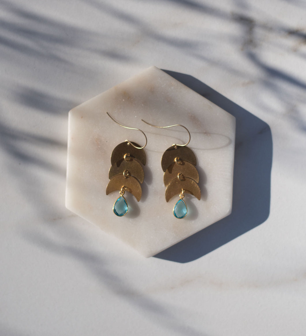 Topaz Moon Earrings
