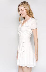 100% Cotton White A-Line Dress With Tassels