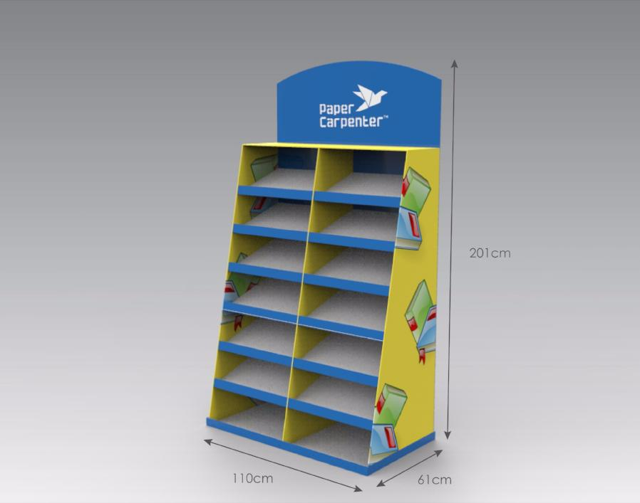 7-Tier Cardboard Floor Display with Dividers