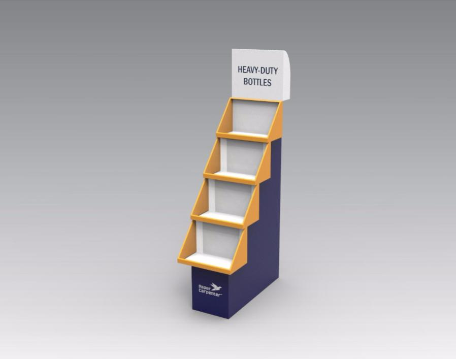 4-Tier Cardboard Floor Display with Headboard