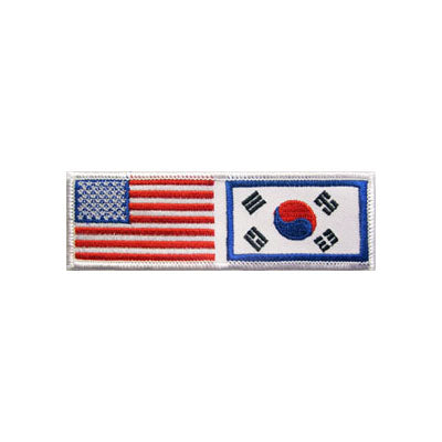 USA & Korean Flag Patch, No Lettering & Silver Border