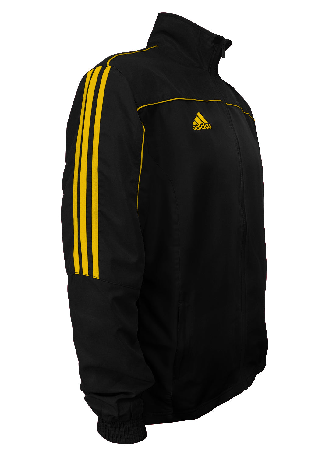 adidas Black with Gold Stripes Windbreaker Style Team Jacket Side View