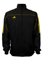 adidas Black with Gold Stripes Windbreaker Style Team Jacket Front View