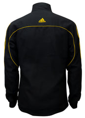 adidas Black with Gold Stripes Windbreaker Style Team Jacket Back View